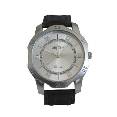 Menjewell Look Brown Leather Belt Silver Colour Round Dial Water Resistance DELTON Watch - For Men  Rs. 374/- watch for mens,luxury watches online,watches for men brands top 10,wrist watch online,watches for men on sale,online watches for mens,luxury watches for men,watches for boys,mes jewellery , mens fashion