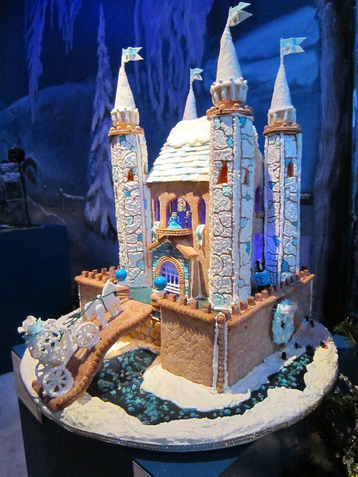 """Adult Division - """"Winter Castle at Christmas."""" Materials used: gingerbread, fondant, royal frosting, spaghetti."""