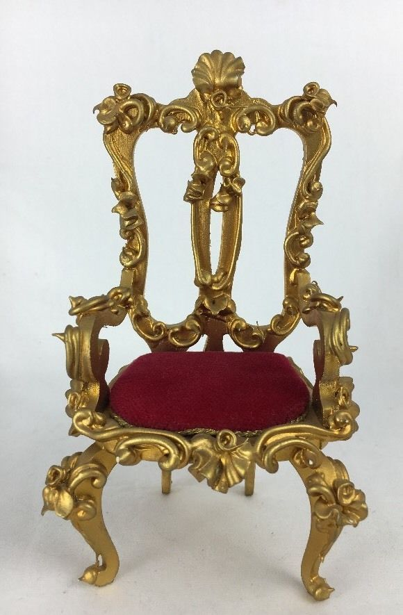 Spielwaren Dollhouse Miniature Red Velvet Open Back Armchair Boutique Szalasi | eBay