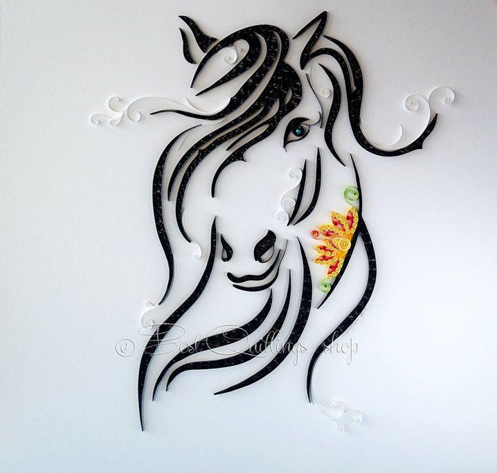 "Original Quilling Art ""Dark Horse"" Colourful Paper Art, Wall Art, Framed, Wall Deco, Big Size 50x50cm par BestQuillings sur Etsy https://www.etsy.com/fr/listing/250424547/original-quilling-art-dark-horse"