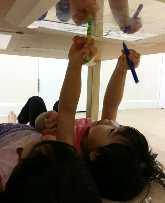 Painting like Michealangelo on a mirror. Reggio Kids Hong Kong ≈≈