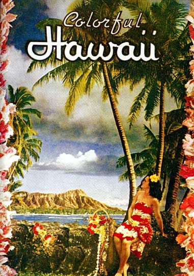 Colorful Hawaii Old Hawaiian Hula surfing Print Hawaii