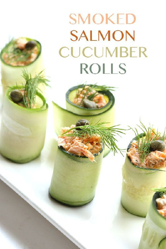 Smoked Salmon Cucumber Rolls Recipe.