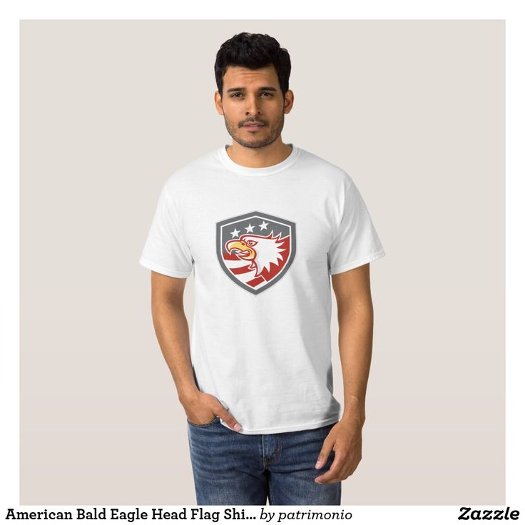 American Bald Eagle Head Flag Shield Retro T-Shirt. Men's t-shirt with an illustration of an American bald eagle head viewed from the side with stars and stripes set inside a shield done in retro style. #tshirt #americaneagle #baldeagle