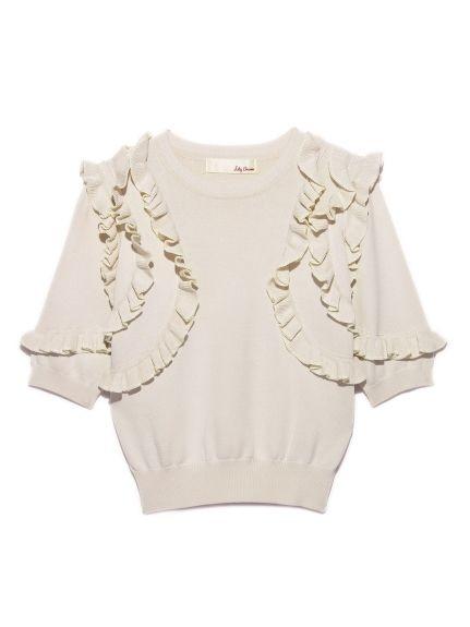 半袖フリルニットプルオーバー(ニット)|Lily Brown(リリーブラウン)|ファッション通販 - ファッションウォーカー