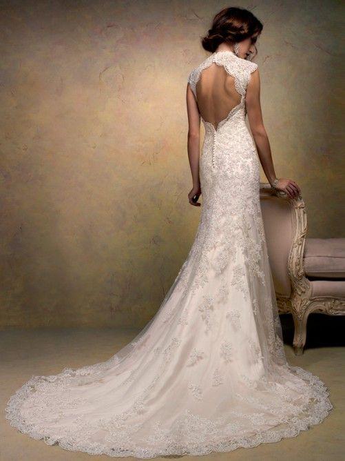 A-line/Princess V-neck Court Train Chapel Train Organza Wedding Dresses