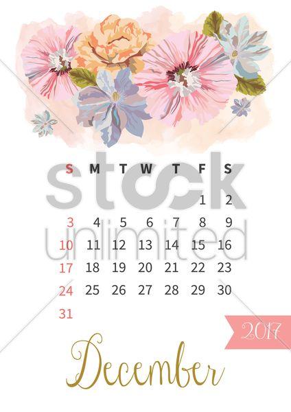 december 2017 floral calendar vector graphic