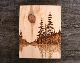 Spring Thaw Art Block Wood burning by TwigsandBlossoms on Etsy