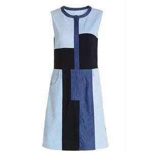 Blue Sleeveless Splicing Denim Dress