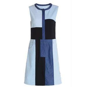 Blue Sleeveless Splicing Denim Dress
