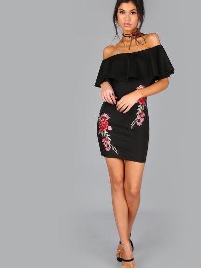 Rüschen Kleid mit Stickereien Rose Applikationen Schulterfrei-schwarz