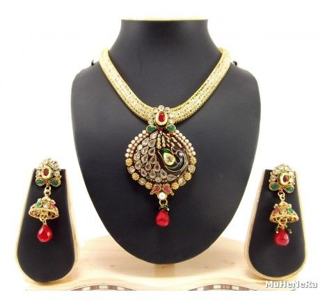 party wear gold plated peacock style pearl kundan necklace set - Fashion Jewelry
