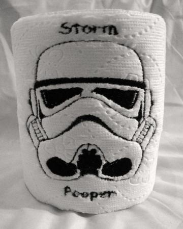 Star Wars Storm Trooper no I mean Pooper  Novelty Gag Gift Embroidered Toilet Paper by DevonRyanDesigns for $3.99