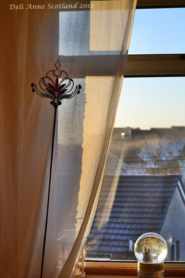 Window, Curtain, Morning, Sunlight, Golden Snow Globe Scotland 2012 www.deli-anne.com
