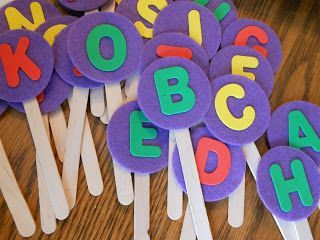 Letter pops: each student gets one and they each say a word that starts with the letter on their pop!  ABC and alphabet recognition activity for preschool and pre-k.
