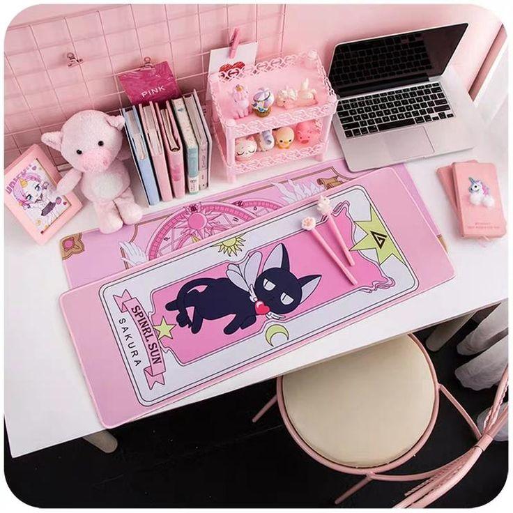 Kawaii anime mouse pad kawaii room gamer room cute
