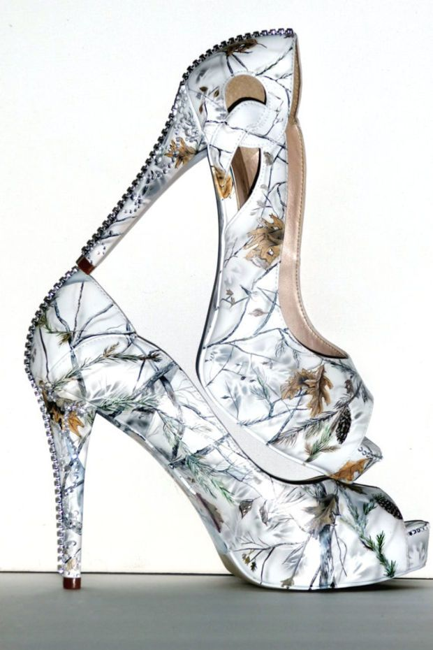 I HAVE TO HAVE!!! snow white camo, hand painted women's wedding bridal shoes, custom heels to flats