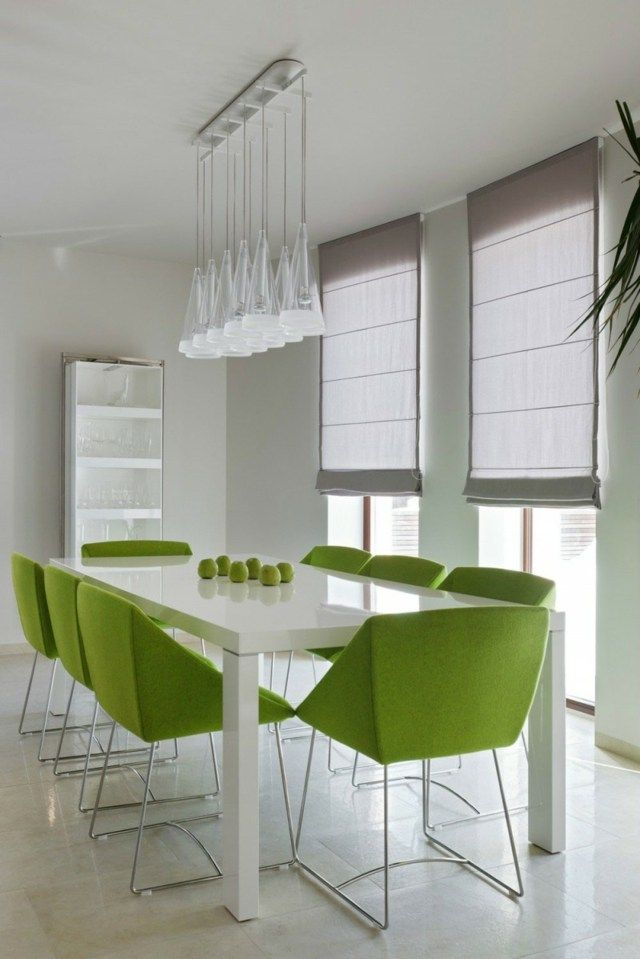 Salle A Manger Blanche Chaise Verte Green Dining Chairs Stylish Dining Room Green Kitchen Decor
