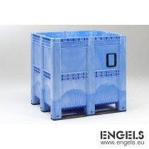 Kunststof palletbox 1300x1150x1250 mm, 1400 ltr, 3 sleden, lichtblauw