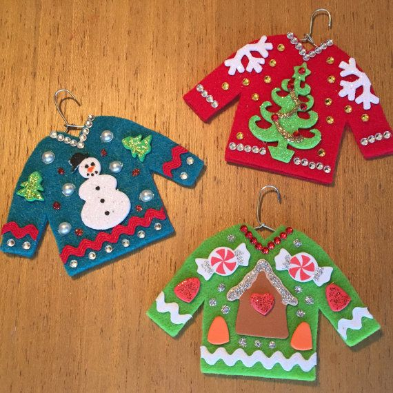 3 Ugly Christmas Sweater Ornaments Snowman Christmas by ChiaChic