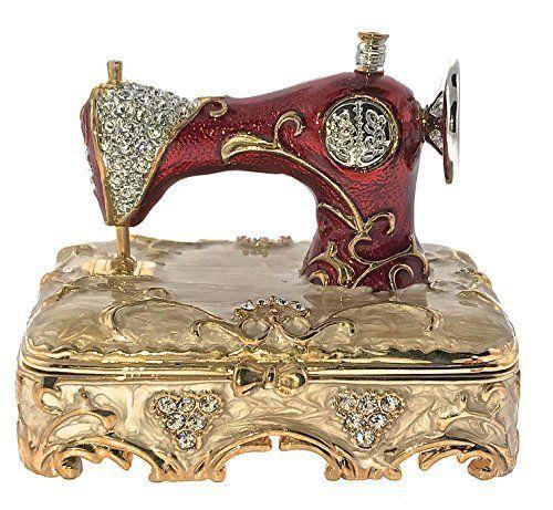 Sewing Machine Jewelry Trinket Box Bejeweled with Swarovski Crystals