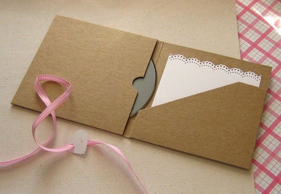 20 Recycled Kraft CD or DVD Case 2 Pocket Folio - Wedding Favor, Photography Boutique Packaging. via Etsy.
