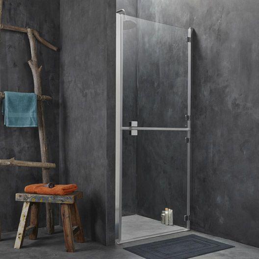 Porte de douche pivotante SENSEA Premium 2 verre transparent chromé 90 cm