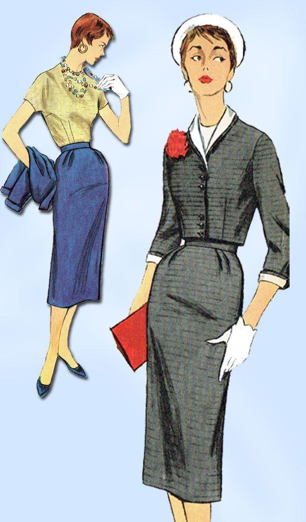 1950s Vintage Simplicity Sewing Pattern 1041 Misses' 3 Pc Suit Size 16 Uncut!