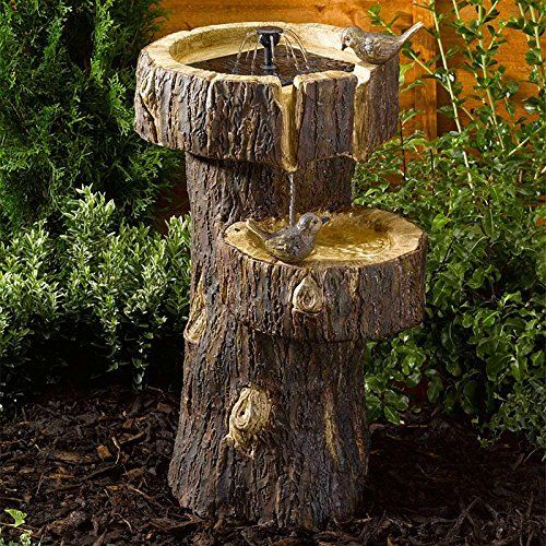Small Solar Powered Water Feature Tree Trunk Bird Bath PC103