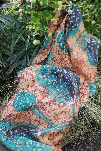 Original silk batik scarf 180 x 45 cms. SOLD NICOLA HAIGH