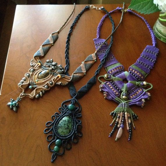 Dragon fly handcrafted macram necklace by - Tapices de macrame ...