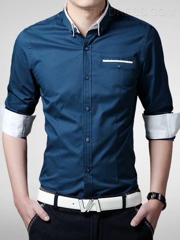 Ericdress Lapel Pocket  Single-Breasted Shirt Men's Shirts