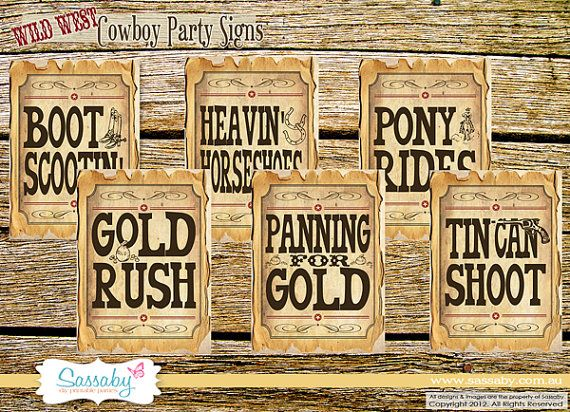 Cowboy Game/Party Posters - Wild West Party Decorations - DIY PRINTABLE FILES by Sassaby via Etsy