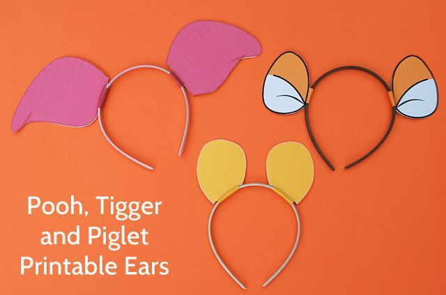 DIY Winnie The Pooh Ears, Piglet Ears, Tigger Ears - print this free printable and put on headbands for super easy and cute Pooh, Piglet and Tigger Halloween costumes #disneywinnie
