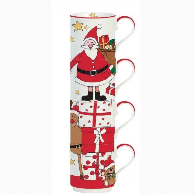 Εορταστική πρόταση για σας που τα Χριστούγεννα έχουν χρώμα. Τέσσερεις κούπες με τον Άγιο Βασίλη και τους φίλους του. Χωρητικότητα: 275ml.