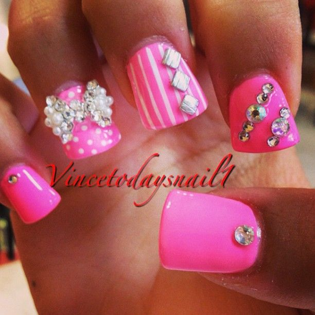 Nails on pinterest her hair coral nail art and updo for short hair