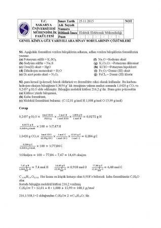 Genel Kimya Dersi Vize Soruları ve Cevapları
