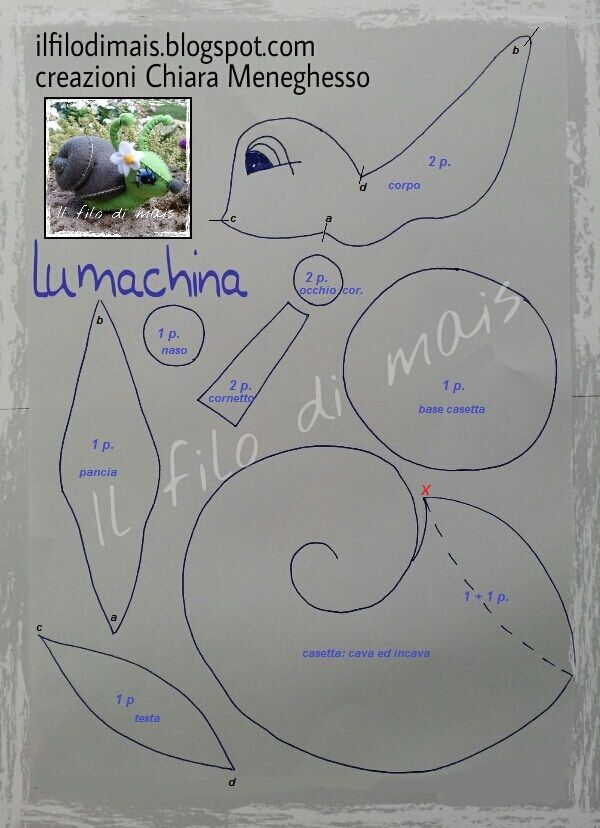 TUTORIAL Lumachina e Modello      Tempo fa, ho presentato due modelli da me disegnati del Gufo grandi occhi che trovate qui  e del Riccio ...