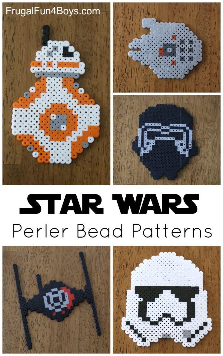 Star Wars The Force Awakens Perler Bead Patterns - Kids Crafts. BB8, Storm Trooper, First Order Tie Fighter, Millennium Falcon, and Kylo Ren