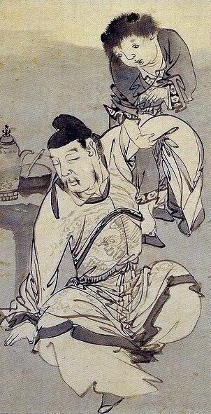 Nagasawa Rosetsu. Drunken poet Li Bo or Li Bai. Japanese hanging scroll. Eighteenth century