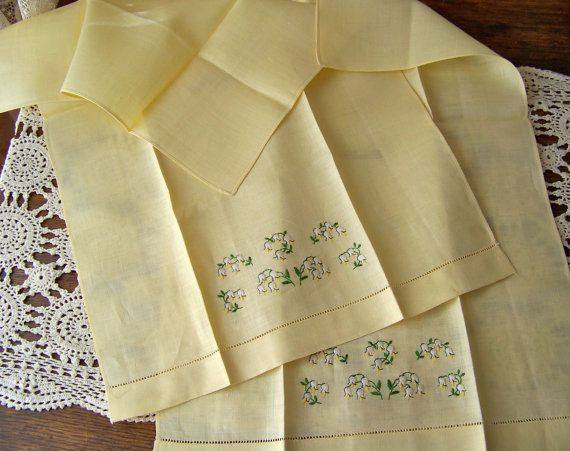 Vintage Yellow Hand Towels Pale Yellow Linen by cynthiasattic, $25.00