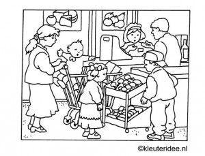 Kleurplaat in de winkel, kleuteridee.nl ,supermarket coloring.