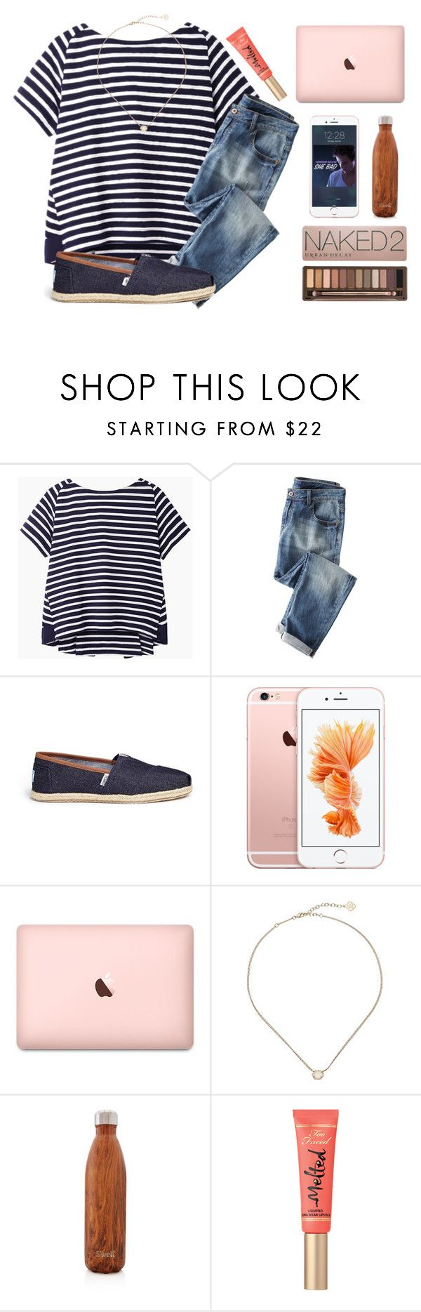 """No school today "" by kari-luvs-u-2 ❤ liked on Polyvore featuring Sacai Luck, Wrap, TOMS, Kendra Scott, S'well and Urban Decay"