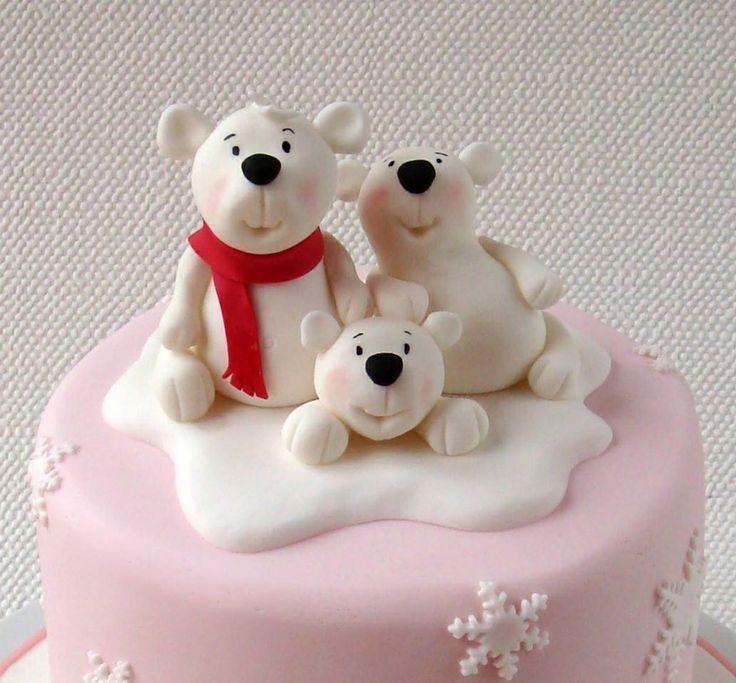 polar bears cake topper | Bear cake topper, Christmas cake ...