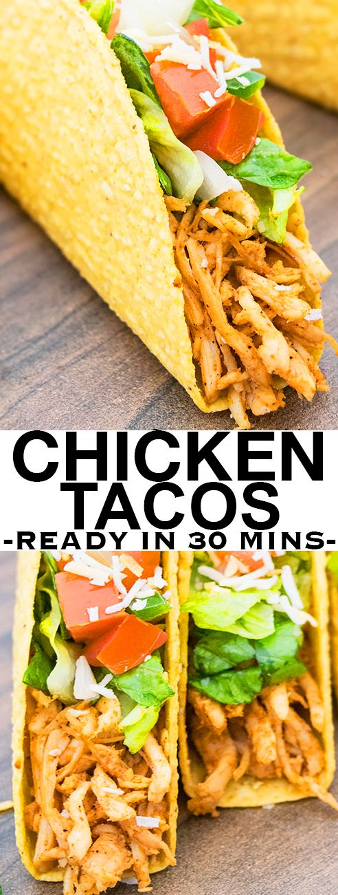 Quick and easy shredded CHICKEN TACOS recipe that makes a simple 30 minute meal, using basic ingredients . These Mexican chicken tacos can be made on the stovetop or slow cooker. {Ad} From cakewhiz.com