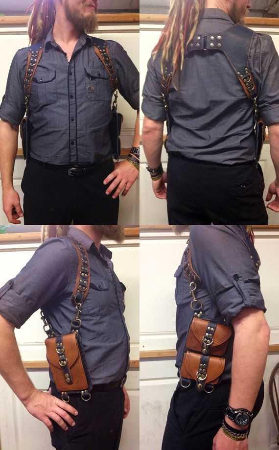 HOMBRE Unisex Shoulder Holster Burning Man Pockets Steampunk Utility Vest Festival Pouch Handmade recycled leather Mad Max Post Apocalypse
