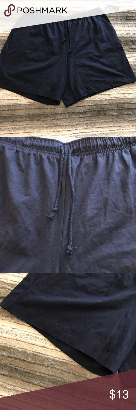 Navy Stretchy Drawstring Shorts Karen Scott Sport Navy Shorts with Drawstring.  95% Cotton, 5% Spandex. Karen Scott Shorts