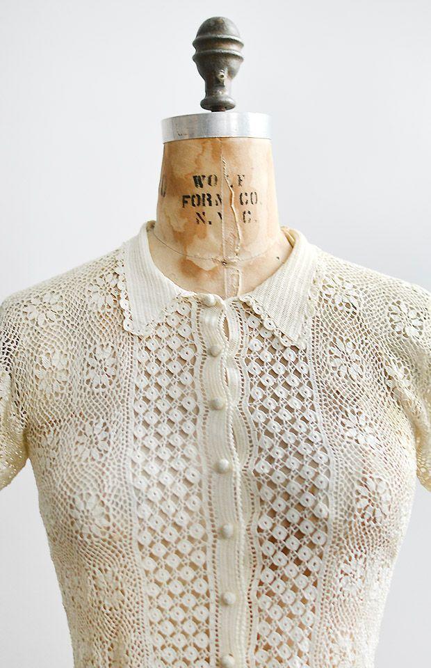 vintage 1930s irish lace crochet top – #1930s #30s…