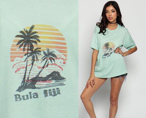 Palm Tree Shirt FIJI TShirt 80s Tee Beach Sunset 1980s Graphic T shirt Retro Tee…