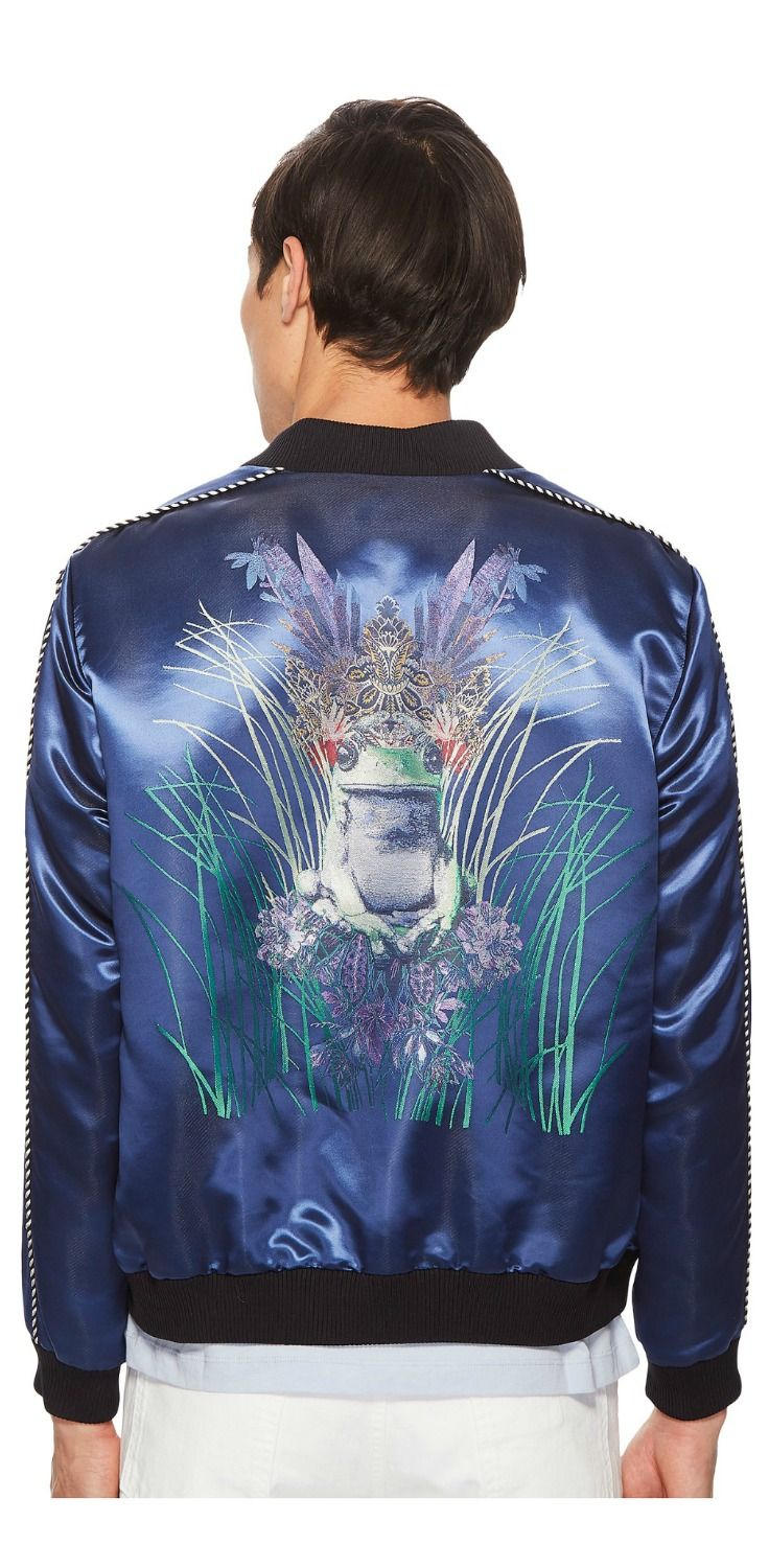 Hop into a timeless tale with this fascinating frog prince.  Start a new chapter of cherished charm cloaked in the enchanting elegance of the #Etro Embroidered #Bomber #Jacket. #men #apparel #clothing #outerwear #jackets #coats